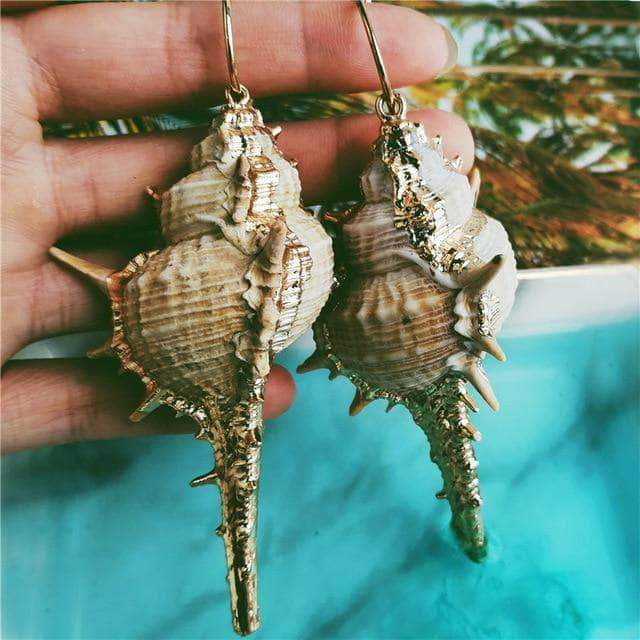Natural Calilla Seashell Drop Earrings - Unique women Jewelry! Rings, bracelets, watches & more..