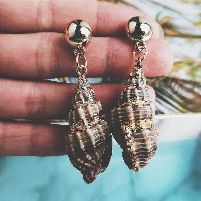Natural Cerith Seashell Drop Earrings - Unique women Jewelry! Rings, bracelets, watches & more..