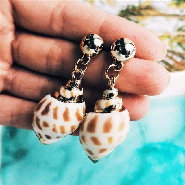 Natural Junonia Seashell Drop Earrings - Unique women Jewelry! Rings, bracelets, watches & more..