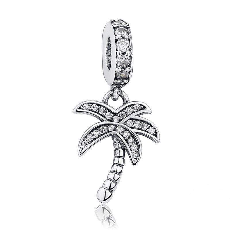 Palm Tree CZ Dangle Charm Silver - Unique women Jewelry! Rings, bracelets, watches & more..