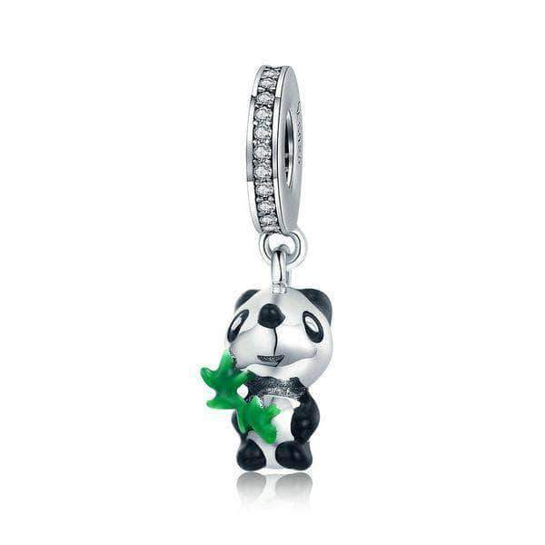 Panda with Bamboo Dangle Charm Silver