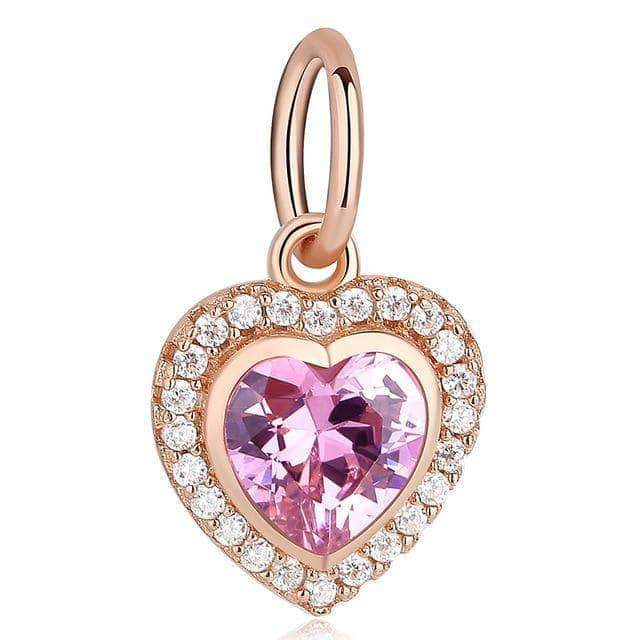Pink Heart of Eternal Love Dangle Charm Rose Gold Plated Silver - Unique women Jewelry! Rings, bracelets, watches & more..