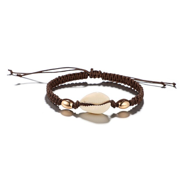 Vintage Leather Rope Cowrie Shell Anklet - Unique women Jewelry! Rings, bracelets, watches & more..