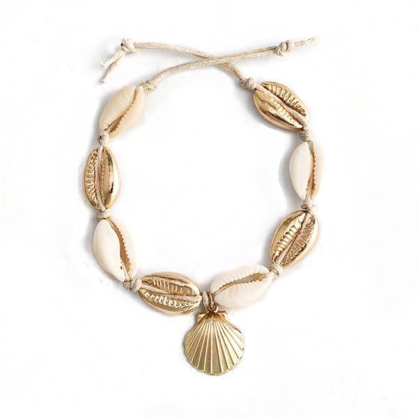 Gold Cowrie Shell Anklet - Unique women Jewelry! Rings, bracelets, watches & more..