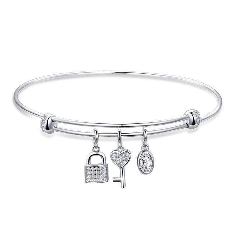 Promise Charm Bangle Platinum Plated Silver - Unique women Jewelry! Rings, bracelets, watches & more..