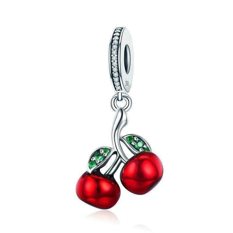 Red Enamel Cherry Dangle Charm Silver - Unique women Jewelry! Rings, bracelets, watches & more..