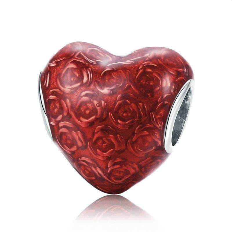 Rose's Heart Love Bead Charm Platinum Plated Silver - Unique women Jewelry! Rings, bracelets, watches & more..