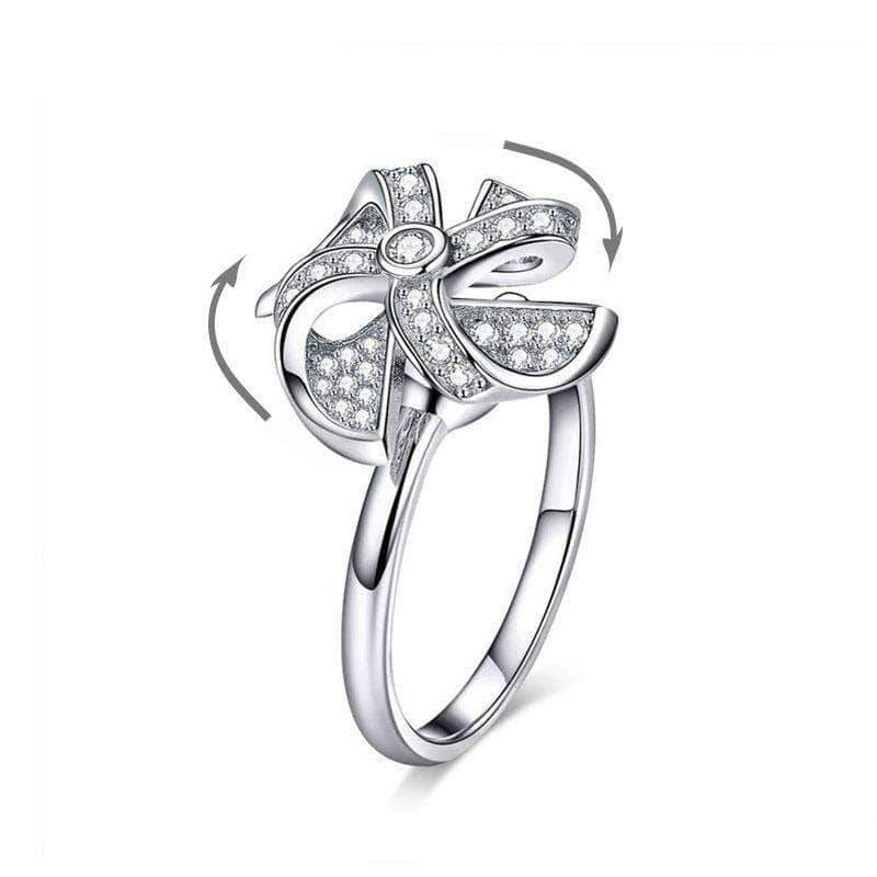 Rotating Windmill Open Size Ring Platinum Plated Silver - Unique women Jewelry! Rings, bracelets, watches & more..