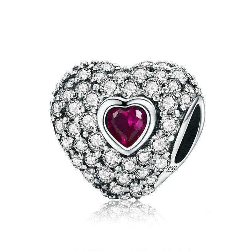 Sparkling CZ Heart Charm Silver - Unique women Jewelry! Rings, bracelets, watches & more..