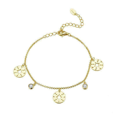 Star Mandala with Pave CZ Bracelet 14k Gold Plated Silver - Unique women Jewelry! Rings, bracelets, watches & more..