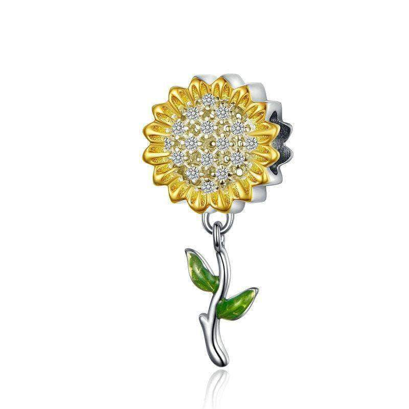 Sunflower Dangle Charm Gold Plated Silver - Unique women Jewelry! Rings, bracelets, watches & more..