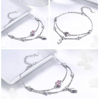 Sweet Heart CZ Double Layers Bracelet Platinum Plated Silver - Unique women Jewelry! Rings, bracelets, watches & more..