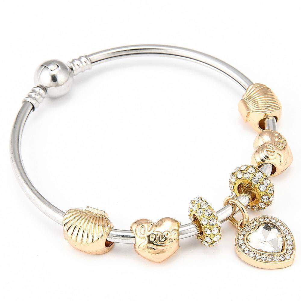 The Big Shell Heart Charm Bracelet