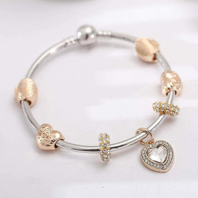 The Big Shell Heart Charm Bracelet - Unique women Jewelry! Rings, bracelets, watches & more..