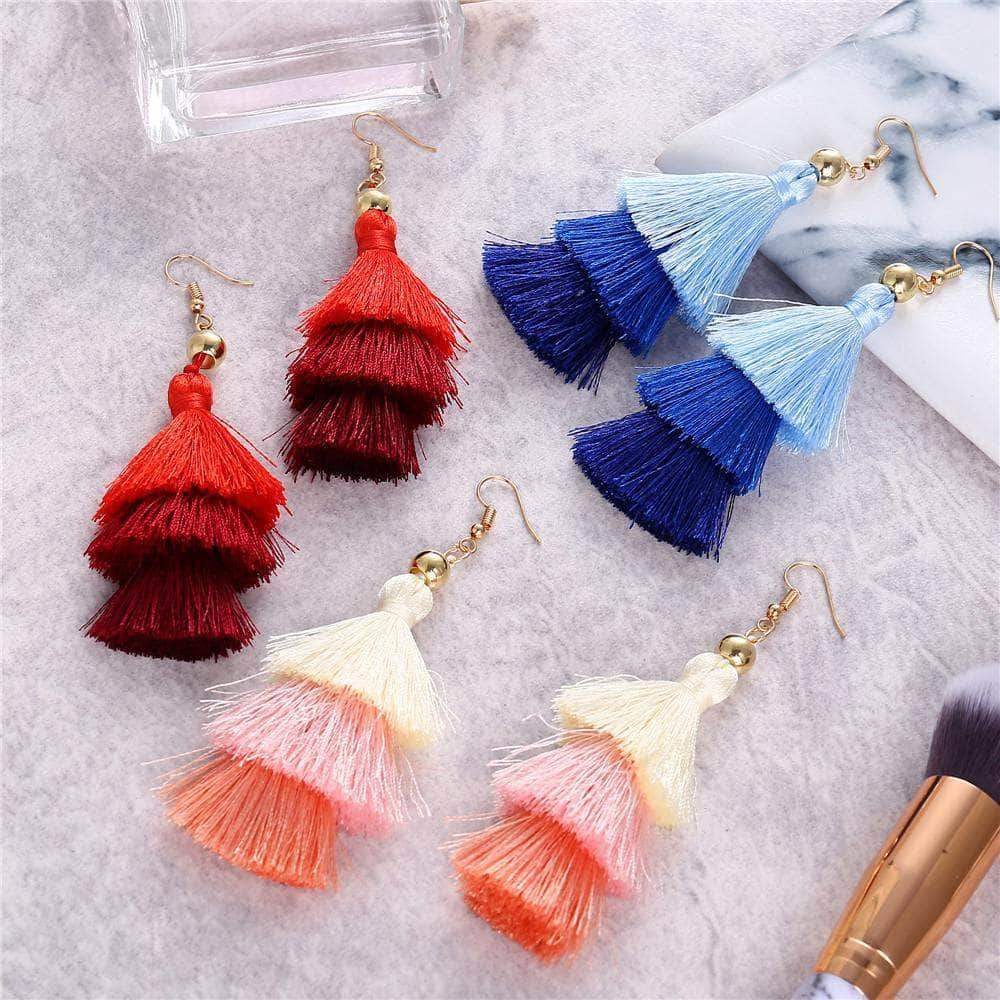 The Bohemian Multilayer Tassel Earrings