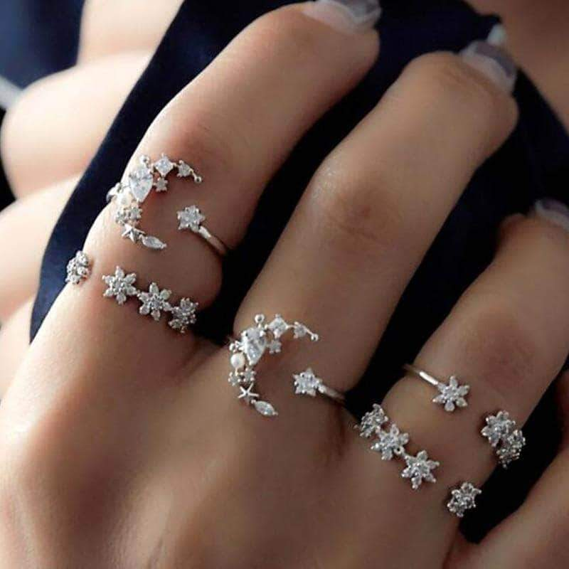 The Shooting Moon Starr Ringset - Unique women Jewelry! Rings, bracelets, watches & more..