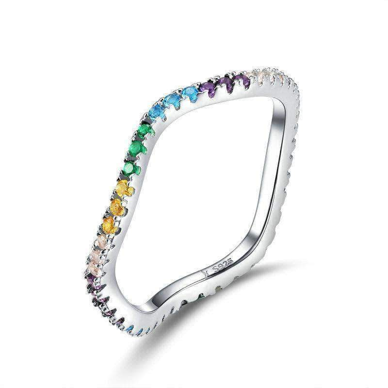 Twisted Colorful CZ Engagement Ring Platinum Plated Silver