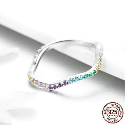 Twisted Colorful CZ Engagement Ring Platinum Plated Silver - Unique women Jewelry! Rings, bracelets, watches & more..