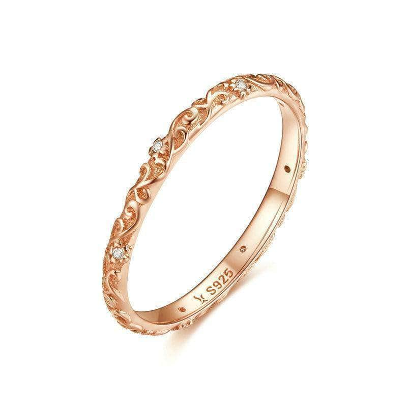 Vintage Flower Eternity Ring Rose Gold Plated Silver - Unique women Jewelry! Rings, bracelets, watches & more..