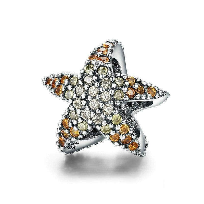 Yellow CZ Ocean Starfish Charm Bead Silver - Unique women Jewelry! Rings, bracelets, watches & more..