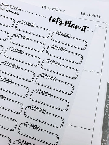 Cleaning | box labels monochrome variety | Planner stickers