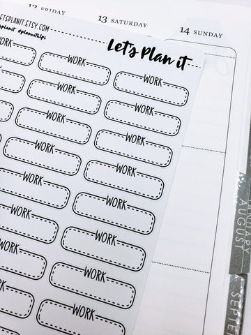 Work/ Work Schedule | box labels monochrome variety | Planner stickers