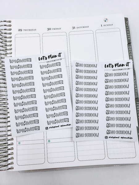 School Related- Single sheets | script & doodle Monochrome | Planner stickers