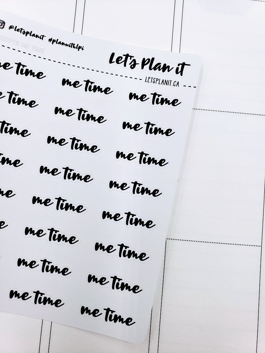 Me Time | monochrome cursive script | Planner stickers | Stickers for Planners