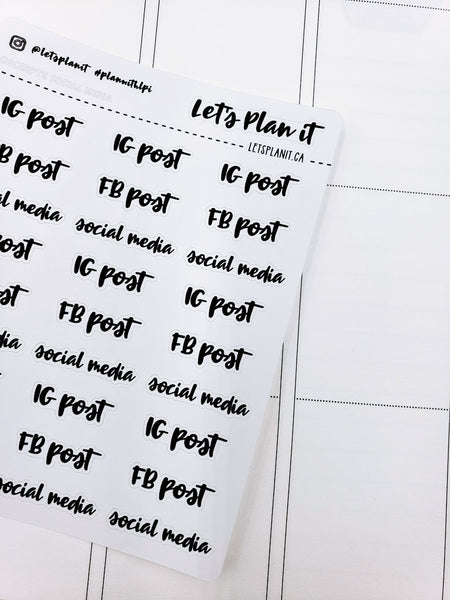 IG post/ FB post | monochrome cursive script | Planner stickers | Stickers for Planners