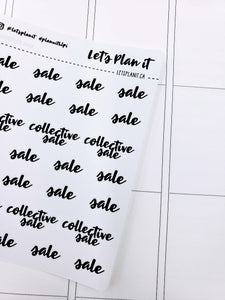 Sale/ collective sale | monochrome cursive script | Planner stickers | Stickers for Planners