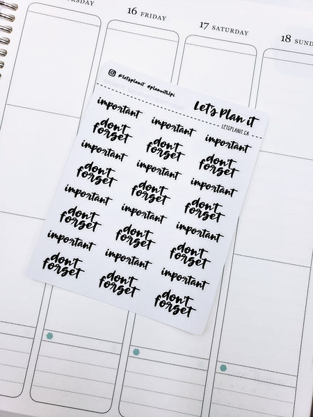 Important/ Don't Forget | monochrome cursive script | Planner stickers | Stickers for Planners