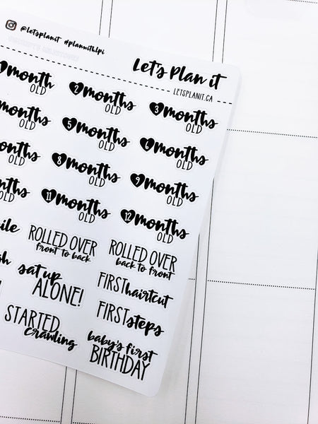 Baby months/ milestones | monochrome cursive script | Planner stickers | Stickers for Planners