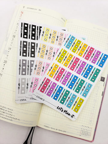 To Do tab bars and checklists - Hobonichi weeks Functional Basics | Planner stickers