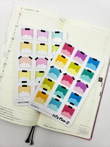 Cloud Post-it note style boxes - Hobonichi weeks Functional Basics | Planner stickers