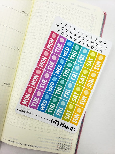 Date covers/ dots - Hobonichi weeks Functional Basics | Planner stickers