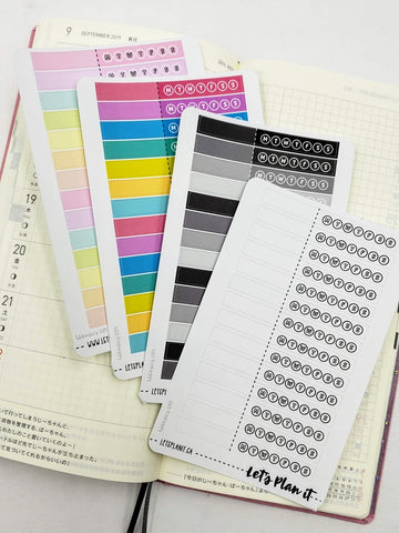 Habit trackers- Hobonichi weeks Functional Basics | Planner stickers