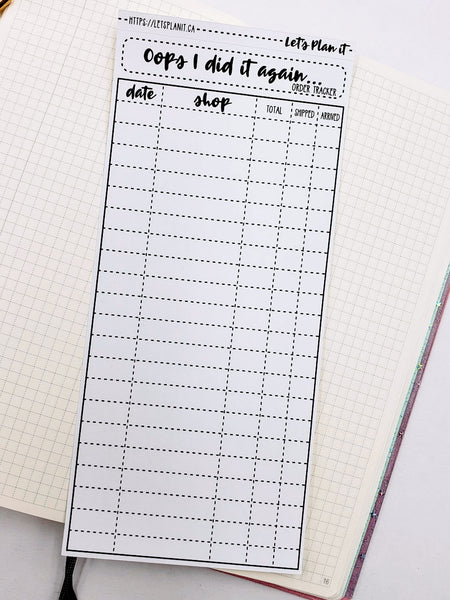 Orders Tracker - monochrome full sheet notes page for the hobonichi weeks planner