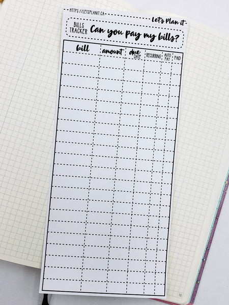 Bills Tracker- monochrome full sheet notes page for the hobonichi weeks planner