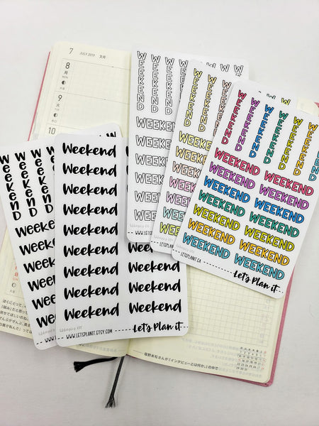 Weekend Banners - Hobonichi weeks Functional Basics | Planner stickers