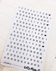 Date dots - Hobonichi weeks Functional Basics | Planner stickers