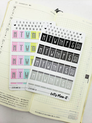 Date covers/ dots (M-S) Hobonichi weeks Functional Basics | Planner stickers