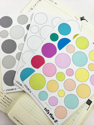 Dotted Circle labels - Hobonichi weeks Functional Basics | Planner stickers