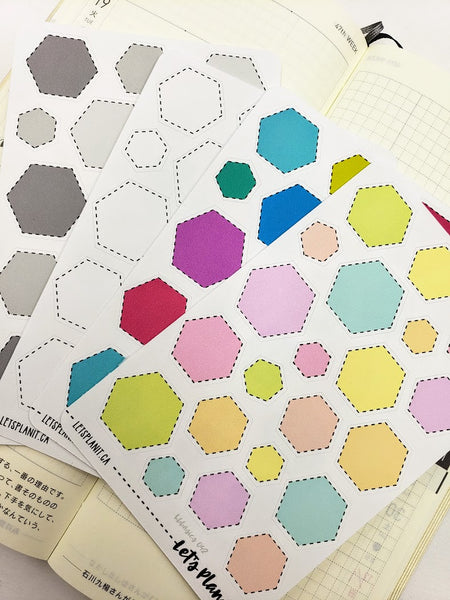 Dotted Hexagon labels - Hobonichi weeks Functional Basics | Planner stickers