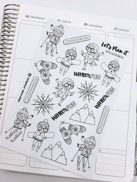 Cora Winter Fun/ Sports | pick your size monochrome character
