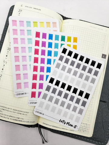 Dash line mini flags - Hobonichi weeks Functional Basics | Planner stickers
