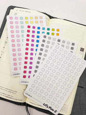 Dotted mini boxes/ checkboxes - Hobonichi weeks Functional Basics | Planner stickers