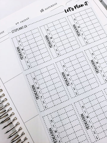 Full box Medication Tracker stickers | monochrome variety | Planner Stickers