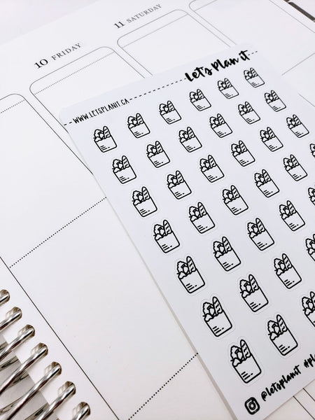 Grocery Bag | monochrome icon | Planner stickers