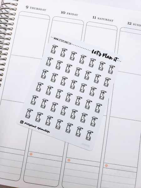 Spray Bottle/ Cleaning | monochrome icon | Planner stickers
