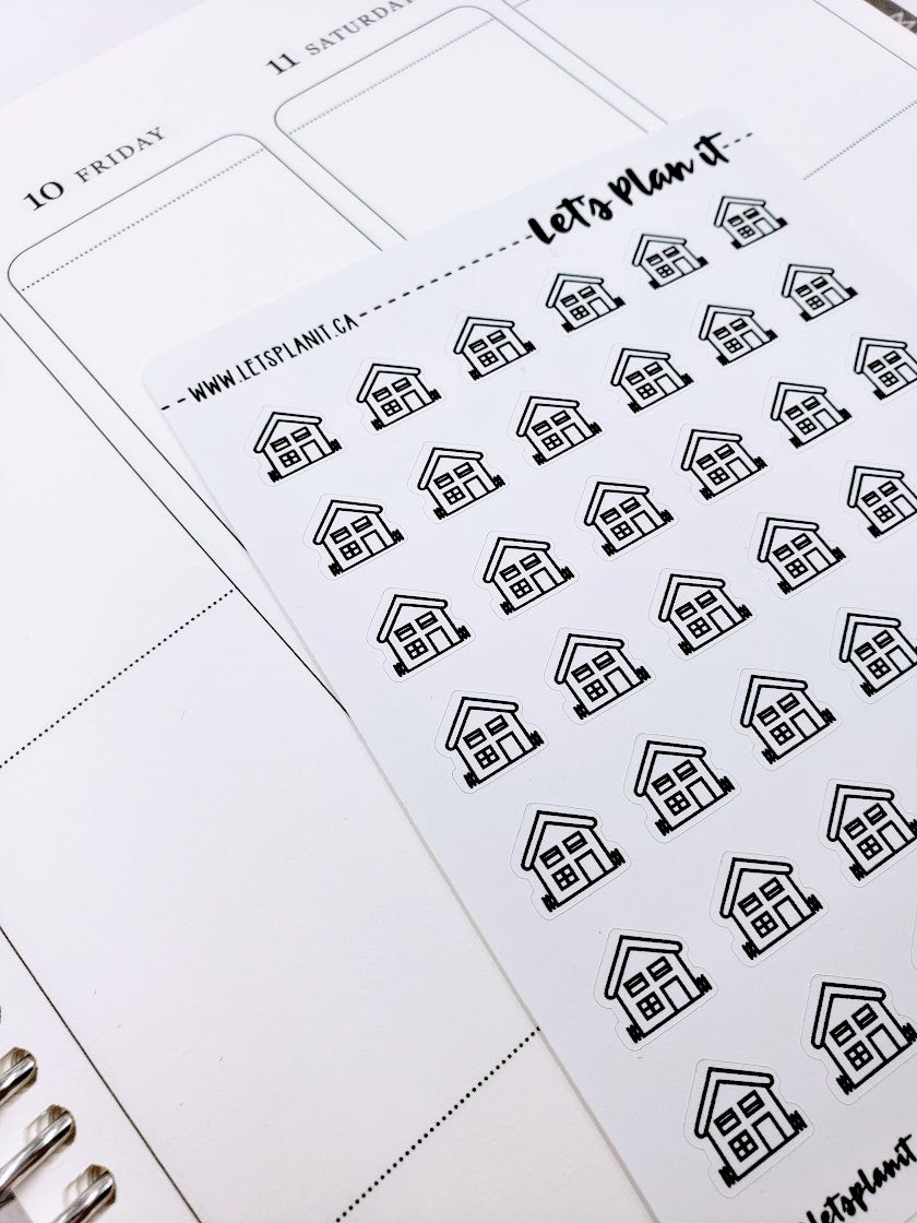House | monochrome icon | Planner stickers